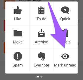 Android mail app, Action grid with arrow pointing to Mark Unread