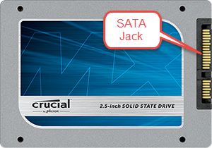 Crucial SSD with pointer to SATA jack, image from Crucial.com