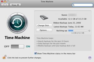 Screenshot of OS X time Machine program window